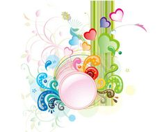 Circle Frame with Floral, Multicolored circle frame with floral, hearts to download free vector illustration