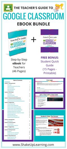The Teacher's Guide to Google Classroom eBook Bundle! This guide has everything you need to get started with Google Classroom and take your skills to the next level! FREE BONUS: Student's Quick Guide to Google Classroom! The Teacher's Guide to Google Classroom is chocked full of step-by-step instructions for using Google Classroom, setting up classes, creating announcements, discussions, assignments, management and tips! 65 Pages! http://www.shakeuplearning.com/google-classroom-ebook