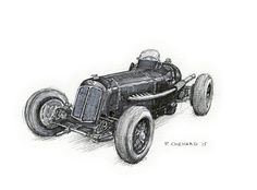 1935 E.R.A. R1B Sketched live at the 2015 Goodwood Revival.  Pencil, pen&ink, markers and Jack Daniels Honey Whiskey on watercolour paper. © Paul Chenard 2015  Original art SOLD.