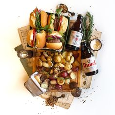 © Aidan Sartin Conte • Slider-Style Mini Burgers • Ground Beef Chuck • Sir Kensington's Organic Mayonnaise • Arugula • Tomato • Red Onion • Baby Medley Potatoes • Mushroom • Garlic • Cipollini Onions • Rosemary • Pickling Spice • Beer: Duvel Belgian Golden Ale