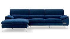 Sapphire Blue Sectional Set with Chaise | Zuri Furniture #ZuriFurniture