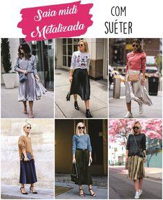 Como usar saia midi plissada metalizada com suéter / moletom