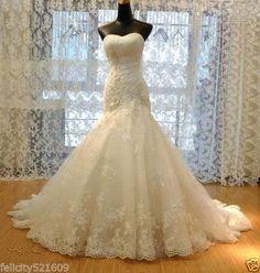 Mermaid-white-ivory-Wedding-Dress-Bridal-Gown-Stock-Size-4-6-8-10-12-14-16-18