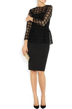 Black cotton-blend crepe Guipure lace bodice overlay and peplum, back slit, fully lined Zip fastening along back 90% cotton, 10% polyester; lace: 61% wool, 39% silk; lining: 100% silk Dry clean
