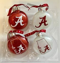 This Alabama Christmas Alabama ornament Bama Roll Tide is just one of the custom, handmade pieces you'll find in our christmas trees shops. Set of 4 FLAT 3 Christmas Ball Ornaments Diy, Vinyl Ornaments, Glass Ornaments, Christmas Crafts, Christmas Bulbs, Christmas Ideas, Glitter Ornaments, Handmade Ornaments, Holiday Ideas