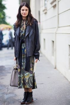 Edge up a floral dress with an oversized leather jacket