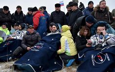 The Soyuz landing capsule carrying three crew members of the International Space Station (ISS) successfully landed 147 kilometers from the Kazakh city of Zhezkazgan on Wednesday morning.