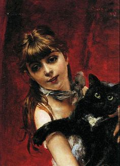 Italian painter Giovanni Boldini's Girl with a Cat. Realism and Impressionism were his style.