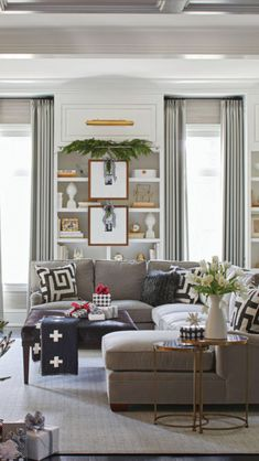 """Living room styling. """"Clearly Chrıstmas"""" from Traditional Home, Dec 2017 / Jan 2018."""