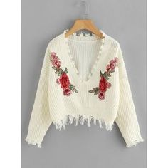 Embroidered Applique Fringe Trim Sweater Women - Apparel - Sweaters - Pull Over