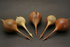 Delicate wood turned ornaments by Jim Bliss, Woodturning instructor at the John C. Campbell Folk School | folkschool.org