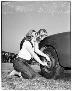 Real rockabilly girls at the Hamilton High hot rod jamboree, 1951