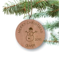 Snowman Ornament, Personalized Ornament, Engraved Wooden Gift Tag, Engraved Wooden Christmas Ornament, Wood Ornament