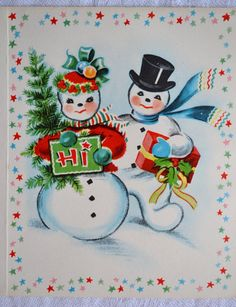 Snow Couple with Tree Present Decorating Tree Vtg Christmas Card Vintage Greeting Cards, Christmas Greeting Cards, Christmas Greetings, Christmas Postcards, Vintage Christmas Images, Vintage Holiday, Christmas Pictures, Snowman Cards, Snowman Pics