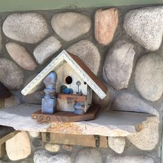 Functional Birdhouse, White Wash Rustic Bird House, Outdoor Birdhouses, Bird's…