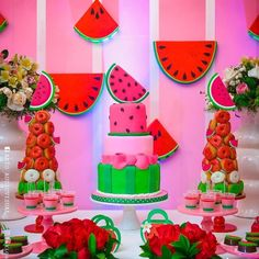 Un #cumpleaños muy jugoso con sabor a #sandia 🍉📷: @sangysoficial#ecumple #partydecor #decor #party #fiesta #DIY #ideas #birthdayparty First Birthday Party Themes, Girl First Birthday, 4th Birthday Parties, 1st Birthdays, Birthday Ideas, Baby Shower Watermelon, Watermelon Birthday Parties, Fruit Party, Kids Party Decorations