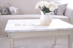sweet white distressed coffee table