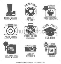 set of studio logos. School-Studio icon. Vintage camera. White background. Vector illustration. Professional photography