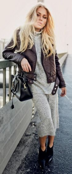 Coffe Biker Jacket On Gray Woolen Set  Cool And Comfy Winter Street Style  Angelica Blick #coffe