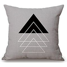 Simple geometry triangle Throw pillowcases Cotton Linen Throw Pillow Case Cushion Cover Home Sofa Decorative 18 X 18 Inch (39)