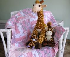 Personalized Animal Friends - choose this quilt and have it personalized for your little girl by  The Baby Quilt Lady. http://uniquebabyquiltboutique.com/