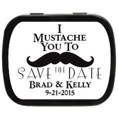 Mustache on the mind? A classy way to get your invite remembered! Get off sitewide with coupon at checkout - Engagement Party Favors, Wedding Party Favors, Invite, Invitations, Mint Tins, How To Remove, How To Get, Mustache, Funny Images