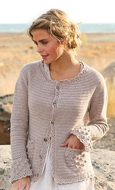"from: Hint of Spring by DROPS Design ""A little piece of crochet art!"" Crochet DROPS jacket with bobbles and lace edges in ""Baby Merino"" or ""BabyAlpaca Silk"". Size S - XXXL Gilet Crochet, Crochet Lace Edging, Crochet Coat, Crochet Cardigan Pattern, Crochet Jacket, Lace Jacket, Crochet Shawl, Crochet Clothes, Free Crochet"