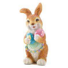 holiday seasonal easter bunny holding eggs figurine easter gift easter bunny easter eggs