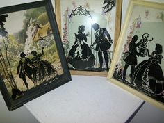 Three Vintage Convex Glass Silhouette Pictures Black Reverse Paintings