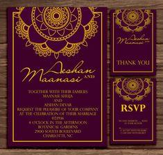 Purple Mandala: Wedding Invitation Suite Print at Home Rsvp Wording, Wedding Invitation Wording, Invite, Bar Mitzvah Invitations, Home Wedding, Wedding Venues, Wedding Ideas, Thank You Cards, Wedding Cards