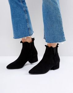 SixtySeven Black Suede Ruffle Ankle Boots - Black