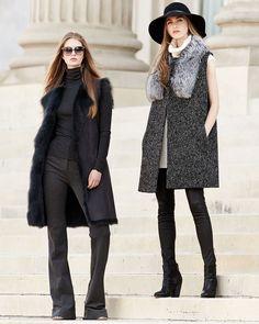 Theory Droneta Wool-Blend Vest with Fur Collar, Vandrona Sleeveless Turtleneck Sweater & Adbelle Leather Axiom Pants