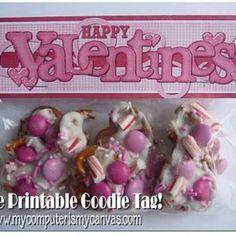 Valentine's Day printable goodie bag tag