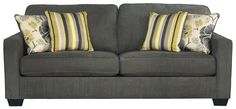 Safia - Slate Queen Sofa Sleeper with Track Arms & 2 Loose Seat Cushions