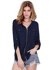 NWT SheIn Womens V Neck Casual Long Sleeve Zipper Chiffon Blouse Top NAVY Medium