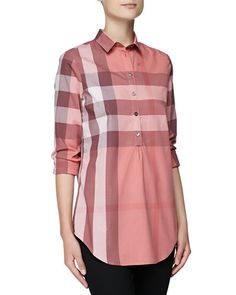 Burberry Shirts for Women at Neiman Marcus Burberry Brit, Everyday Dresses, Check Shirt, Coral Pink, Neiman Marcus, What To Wear, Women Wear, Shirt Dress, Long Sleeve