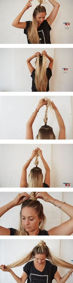 Laura Polko: Braided Top Knot How To  Start with a half pony tied up.  Braid the pony. Loosen the braid to make it thicker. Take it from the base and wrap it around just like a top knot. As always, lo