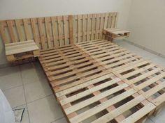 Lit en palettes pour 2 personnes avec tables de chevets intégrées.14 lits en palettes DIY qui vous feront craquer