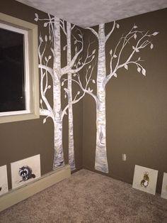 Birch trees in woodland themed nursery