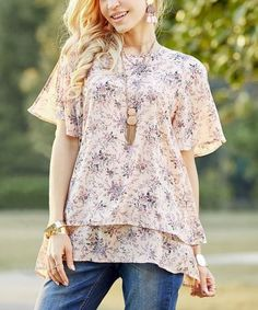 Love this Dusty Pink Floral Layered Chiffon Tunic - Plus Too on #zulily! #zulilyfinds