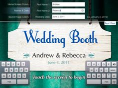 Wedding Booth is an app that turns your iPad into a fully customizable, inexpensive and fun DIY Photo Booth and Guestbook for your wedding... as long as no one breaks it