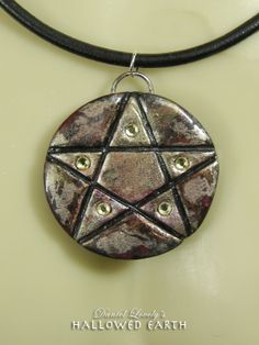 CAMO PENTAGRAM PENDANT w/Leather Necklace by HallowedEarth $35.00 #handmade #ooak #pentagram #pagan #leather #wicca #giftsforhim #accessories #unisexjewelry #statementjewelry #necklace #daniellovely.com