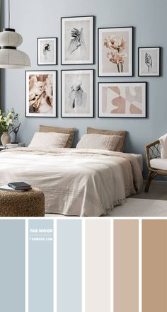 Blue Bedroom Colors, Taupe Bedroom, Blue Bedroom Walls, Bedroom Colour Palette, Room Design Bedroom, Bedroom Color Schemes, Home Bedroom, Bedroom Decor, Relaxing Bedroom Colors