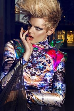 Makeup by Candace Corey for fashion magazine. Used MakeUp ForEver Aqua cream eye shadow, Contoured cheeks with Covergirl Queen face powder, lip with OCC lip tar.