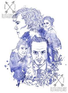 A Sherlock inspired illustration <3 #sherlock #art #painting #drawing #sherlockholmes #benedictcumberbatch #moriarty #blue