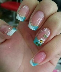 Nail Art Ideas For Spring Design Nailart 49 Ideas French Manicure Nails, French Nails, Spring Nail Art, Spring Nails, Fun Nails, Pretty Nails, Zebra Print Nails, Trendy Nail Art, Flower Nail Art