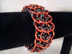 Red Stretchy Chainmail Bracelet Inter Euro Weave by CnTStretchys, $15.00