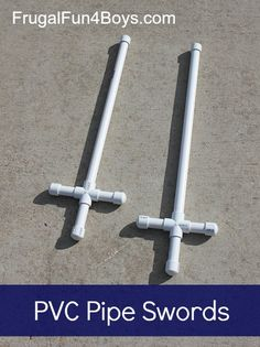 "Make Your Own PVC Pipe Swords: I can see these being made into ""Swords of the Spirit"" (Ephesians 6)... use a sharpie to write books of the Bible on them!"
