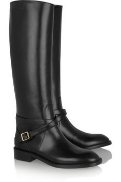 SAINT LAURENT Cavaliere buckled leather riding boots