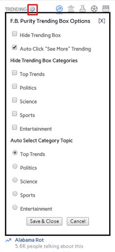 Make Facebook, People Talk, Trending Topics, Clean Up, The Selection, Politics, Entertainment, Science, Button
